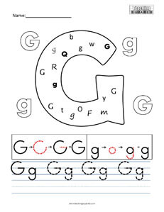 Letter G practice teaching worksheet