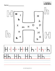 Letter H Practice teaching Worksheet