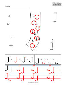 Letter J Practice teaching worksheet