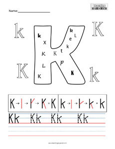 Letter K practice teaching worksheet