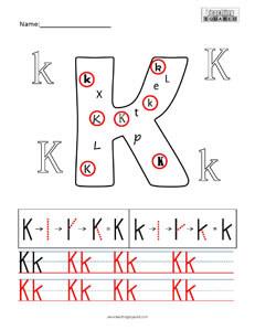 Letter K Practice teaching worksheet