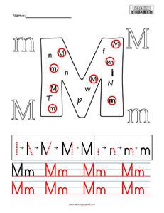 Letter M Practice teaching worksheet