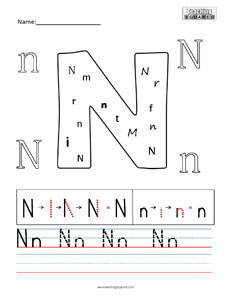 Letter N practice teaching worksheet
