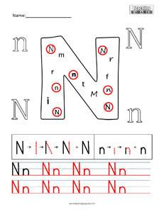 Letter N Practice teaching worksheet