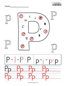 Letter P Practice teaching worksheet