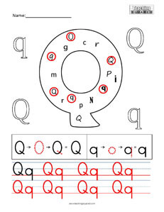 Letter Q Practice teaching worksheet