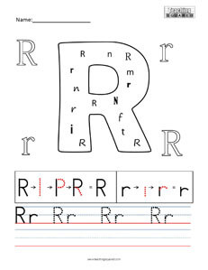 Letter R practice teaching worksheet