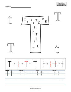 Letter T practice teaching worksheet