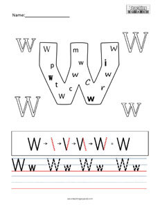 Letter W practice teaching worksheet