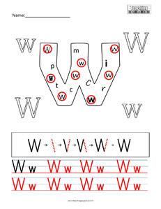 Letter W Practice teaching worksheet