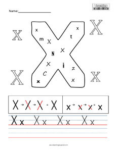 Letter X practice teaching worksheet