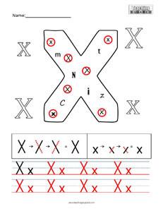 Letter X Practice teaching worksheet