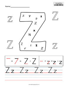 Letter Z Practice teaching Worksheet