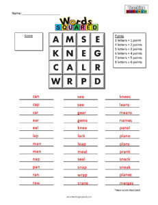 Words Squared game worksheets boggle