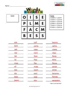 Words Squared game worksheets boggle