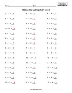 Horizontal Subtraction to 10