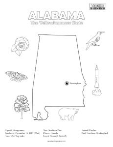Elegant Fun Alabama Coloring Page For Kids