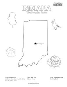 fun Indiana United States coloring page for kids
