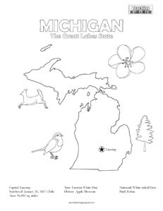 fun michigan coloring page for kids
