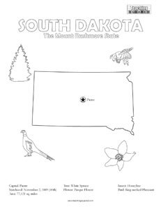fun South Dakota United States coloring page for kids