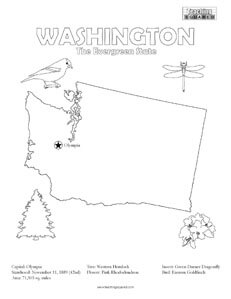 fun Washington United States coloring page for kids