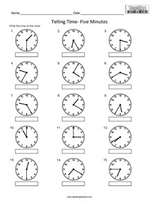 Telling Time to the nearest five minutes clock worksheets