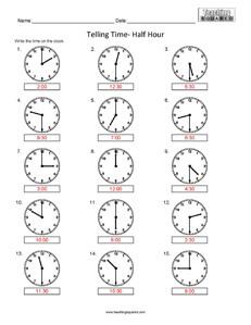 Telling Time- Half Hour