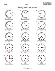 Telling Time- One Minute