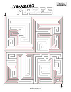 Amazing Maze- 7 printable puzzles
