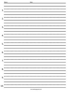 Numbered Test Paper