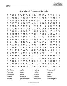 President's Day Holiday word searches