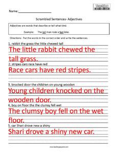 Scrambled Sentences- Adjectives - Teaching Squared