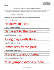Scrambled Sentences- Prepositions - Teaching Squared