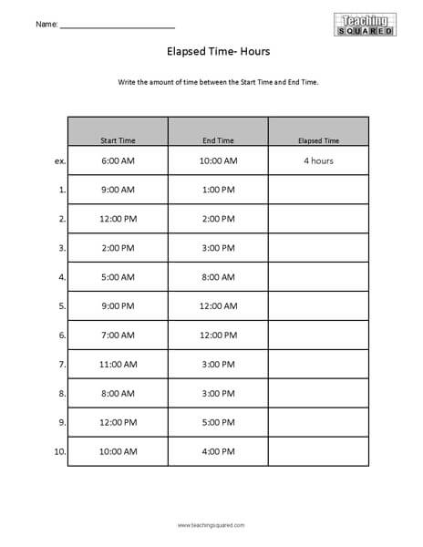 Elapsed Time Worksheets - Teaching Squared