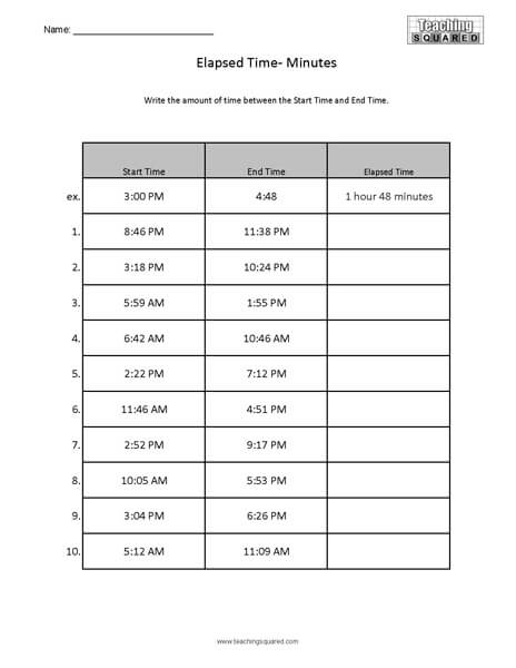 Elapsed Time Practice Worksheet