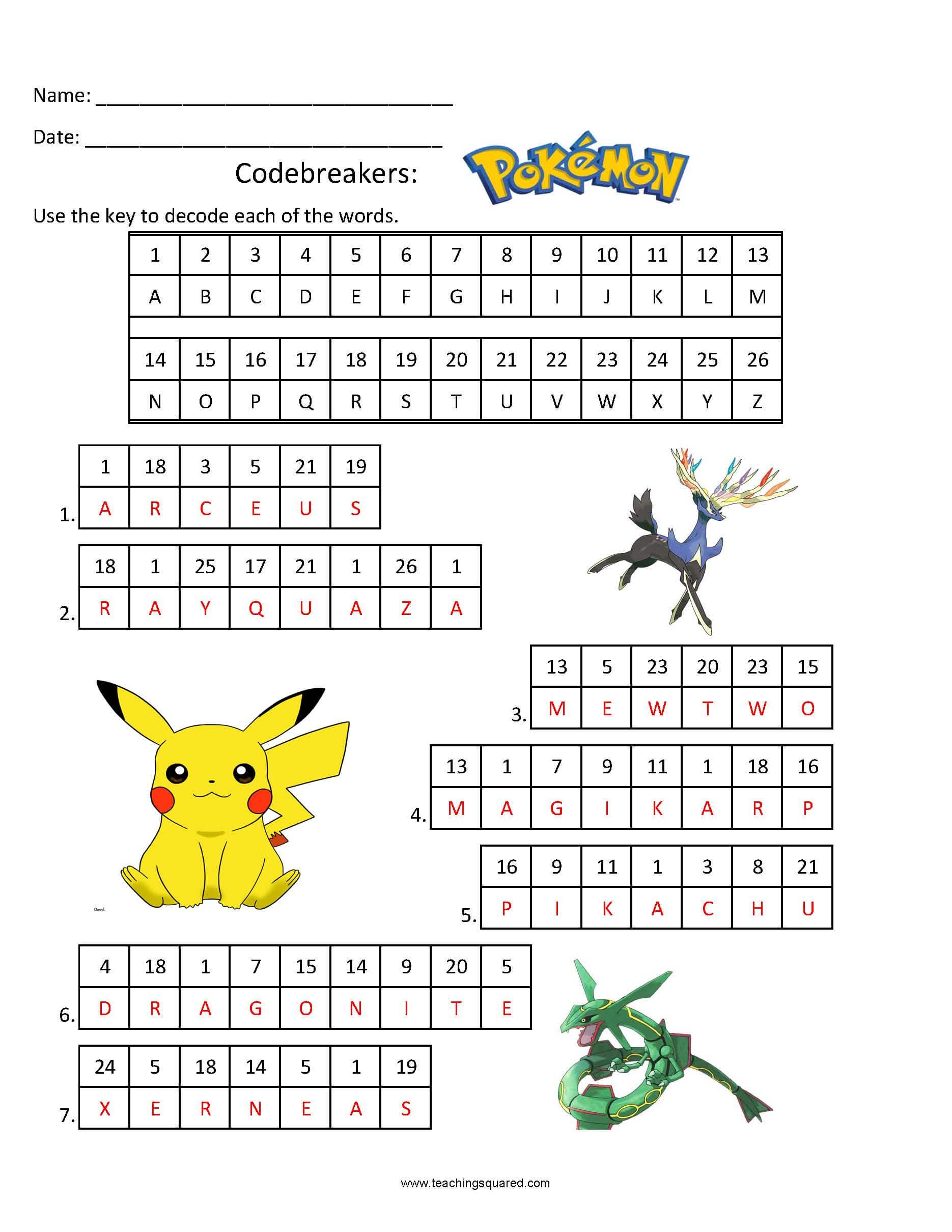 Codebreakers- Pokemon Fun Puzzle for kids
