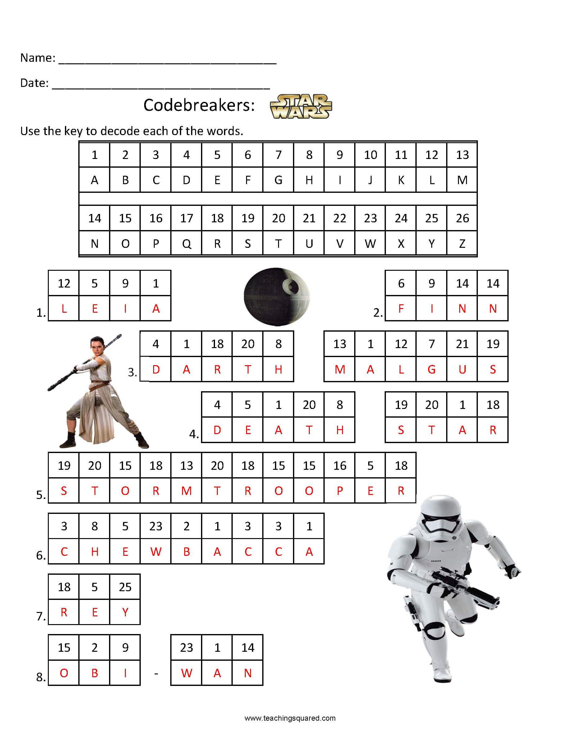 graphic relating to Star Wars Crossword Puzzles Printable identified as Codebreakers- Star Wars 2 - Education Squared