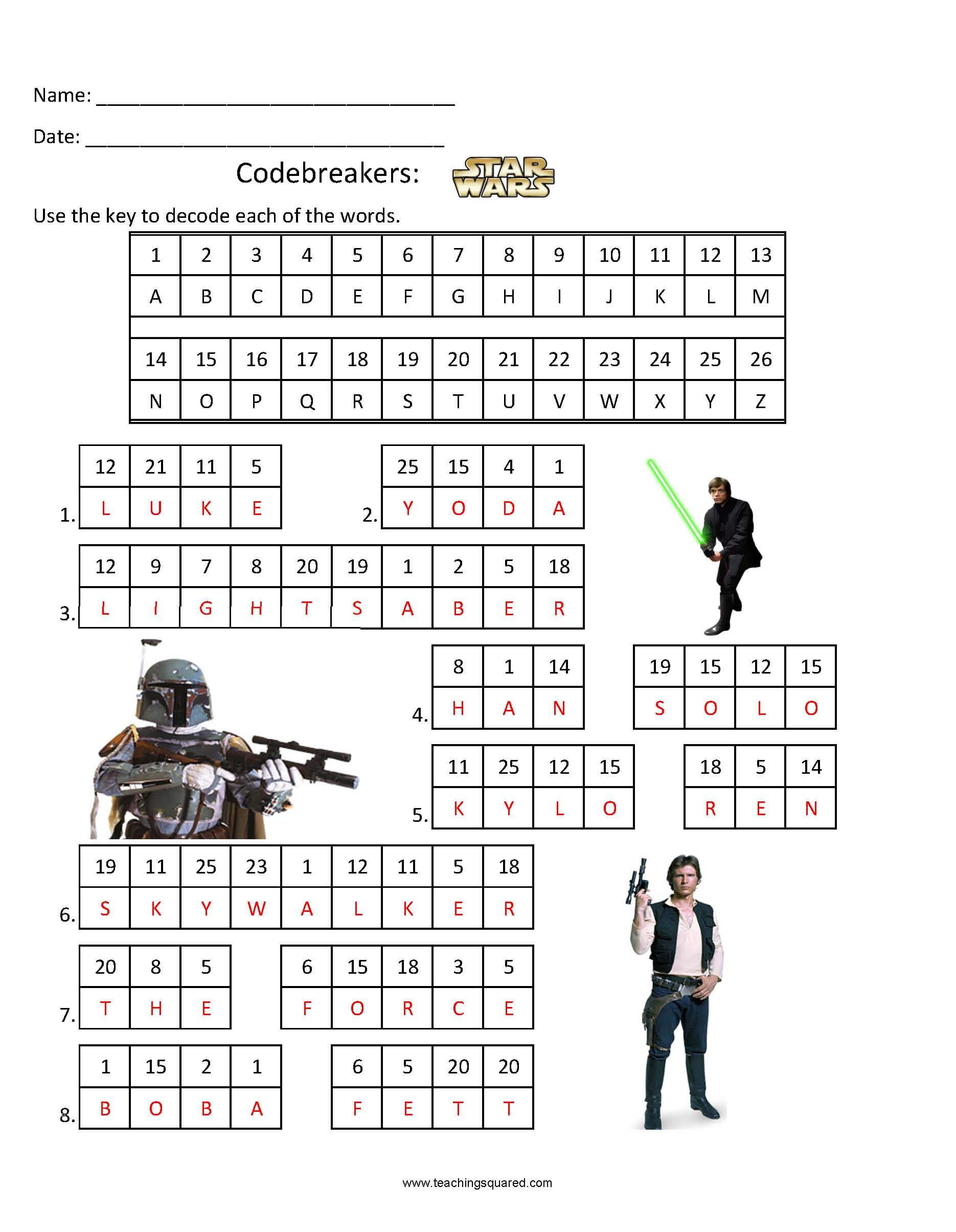 photo relating to Star Wars Crossword Puzzles Printable known as Codebreakers- Star Wars 1 - Coaching Squared