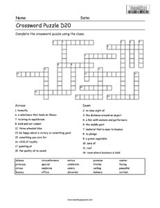 Fun Crossword Puzzle For Kids