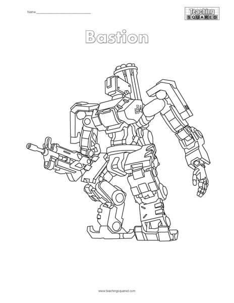 Bastion Overwatch Coloring Teaching Squared