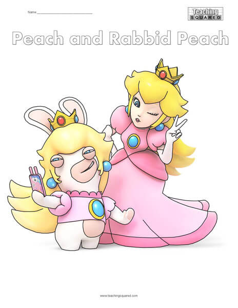 Peach and Peach Rabbid Free Coloring Page