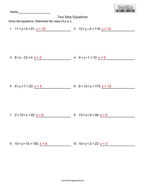 Two Step Equations L1