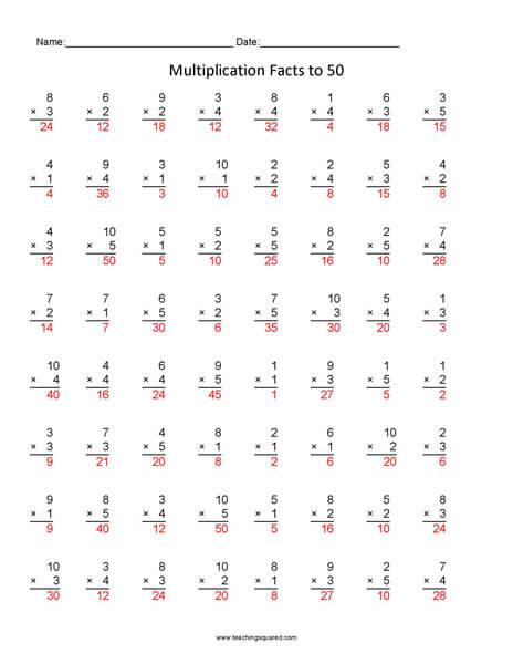 Multiplication Facts 1 to 50- Multiplication Facts