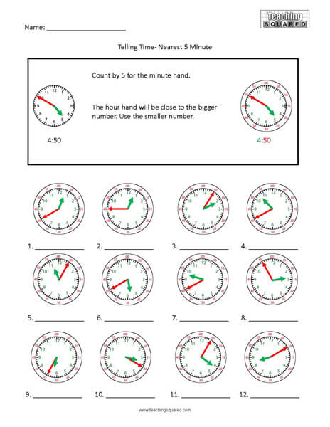 5 Minute Colorful clock time worksheets