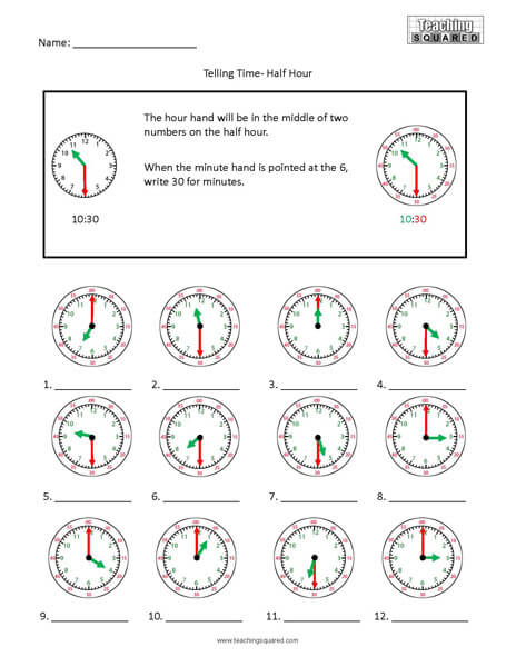 Half Hour Colorful clock time worksheets