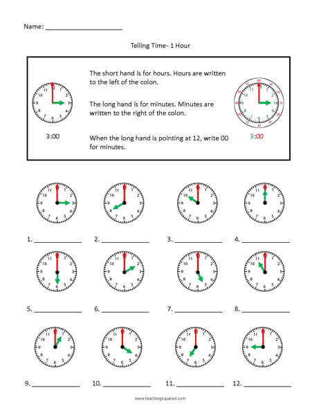 Hour Colorful clock time worksheets