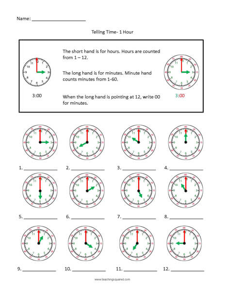 Hours Colorful clock time worksheets