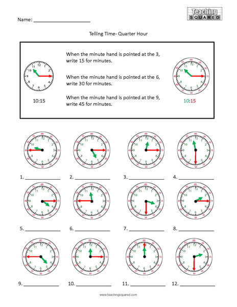 Quarter Hour Colorful clock time worksheets