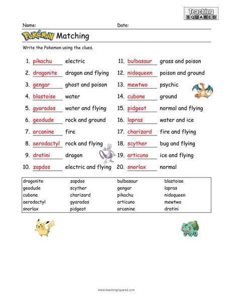 Pokemon Matching Puzzle