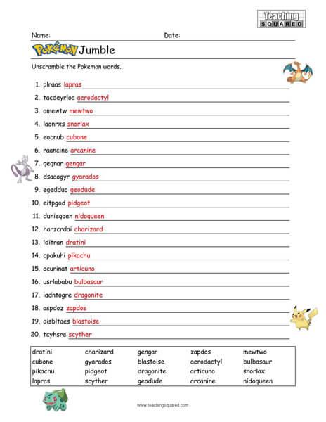 Pokémon Word Jumble Puzzle
